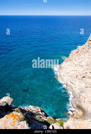 Balearic Mediterranean sea high view from Barbaria Formentera island - Stock Image