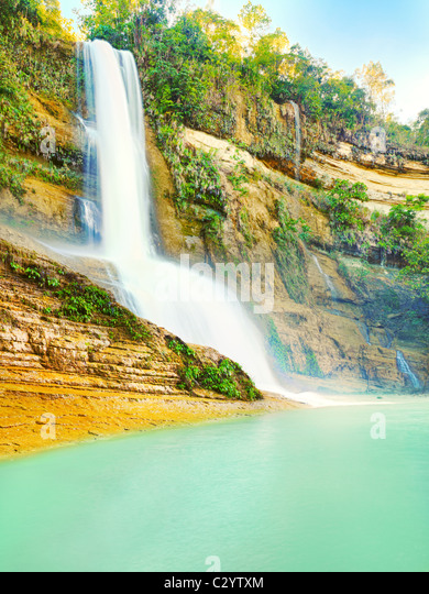 Beautiful waterfall at summer sunny day. Bohol - Stock-Bilder
