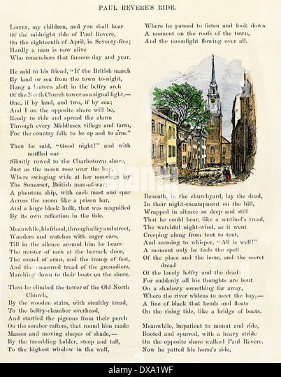 Illustrated page of 'Paul Revere's Ride' by Henry Wadsworth Longfellow, 1879. - Stock-Bilder
