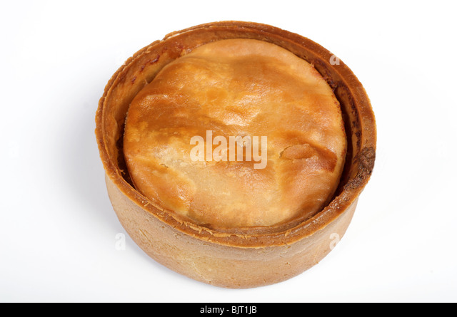 Traditional Scotch pie, a small double-crust meat pie filled with minced mutton or other meats. - Stock Image
