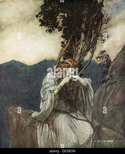 'Brunnhilde kisses the ring that Siegfried has left with her', 1924.  Artist: Arthur Rackham - Stock Image