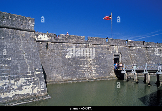 St Augustine florida Castillo de San Marcos with water in the moat iconic florida landmark - Stock Image