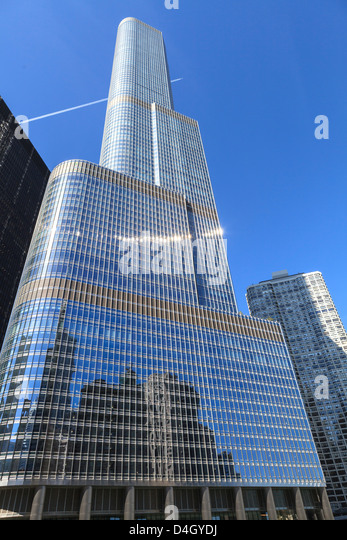 Trump Tower, Chicago's second tallest building, Chicago, Illinois, USA - Stock Image