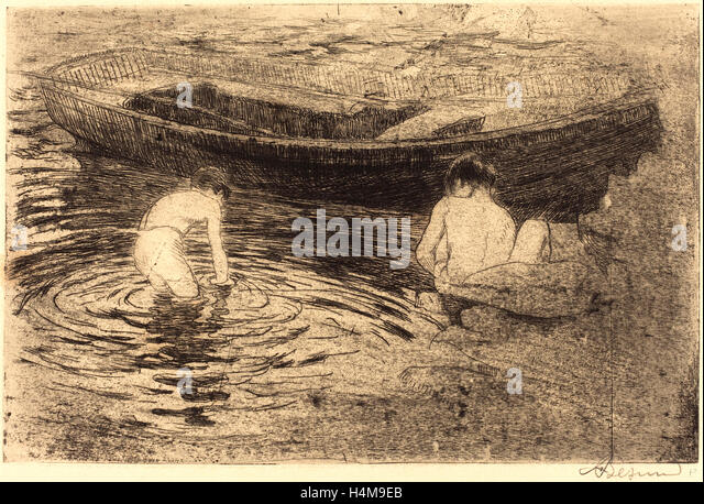 Albert Besnard, French (1849-1934), Bathing at Talloires (La baignade à Talloires), 1888, etching and aquatint - Stock-Bilder