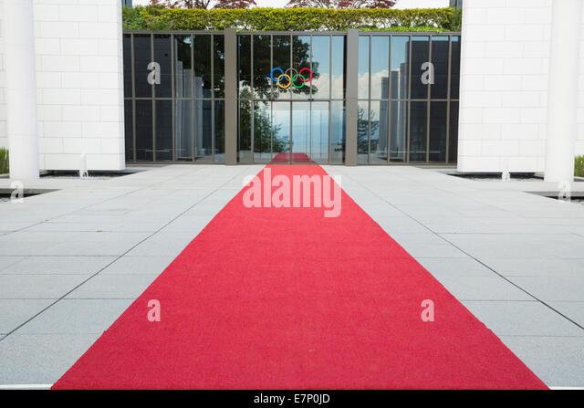 Olympic museum, Lausanne, canton, VD, Vaud, Western Switerland, Romandie, sport, red carpet, Switzerland, Europe, - Stock Image