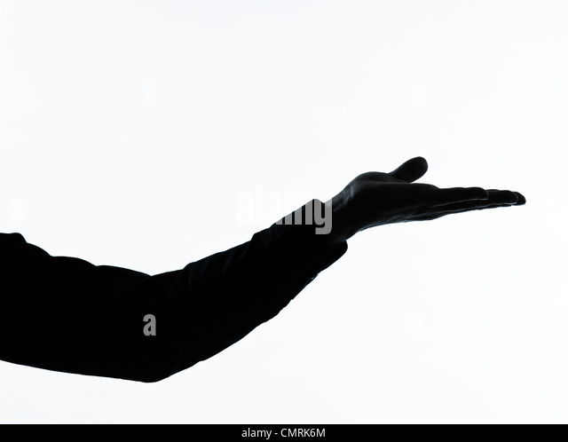 one caucasian  man empty hand open portrait silhouette in studio isolated on white background - Stock Image