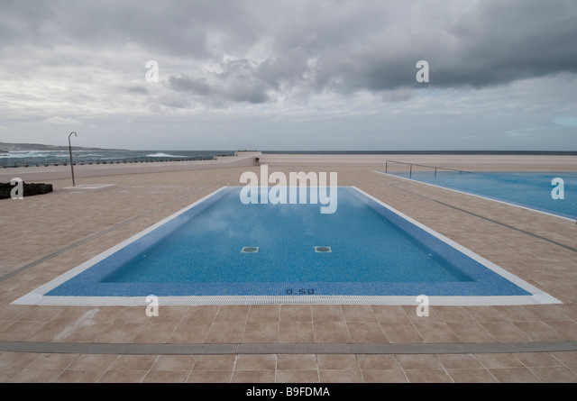 Swimming pools in resort, Tenerife, Canary Islands, Spain - Stock Image
