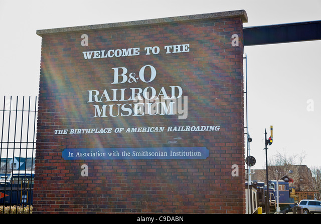 The entrance to and sign for the B&O Railroad Museum, Baltimore, Maryland. - Stock Image
