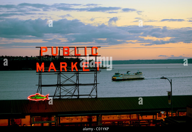 Washington State Department of Transportation ferry coming into Seattle from Bainbridge Island. Stock Photo
