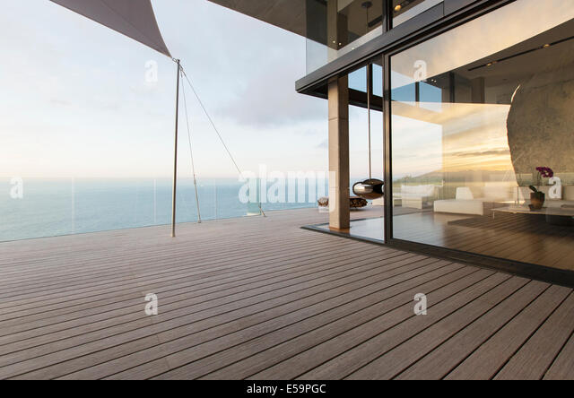Wooden dock of modern house - Stock Image