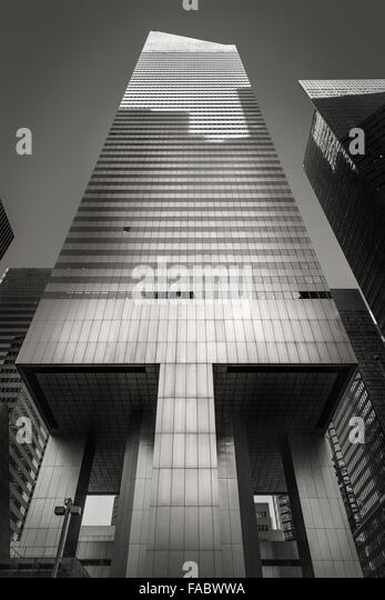 Black & White ground level view of the modernist Citigroup Center skyscraper in Midtown East, Manhattan, New - Stock Image
