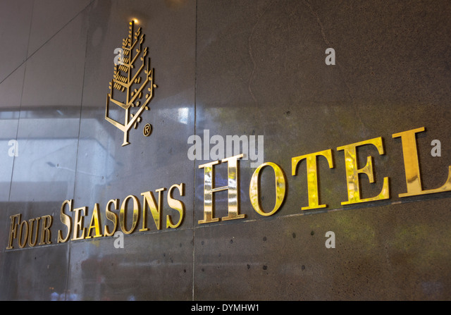 Sydney Australia NSW New South Wales CBD Central Business District Four Seasons Hotel hotel sign entrance - Stock Image