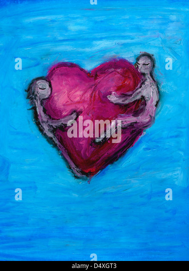 Two lovers embracing heart. - Stock Image