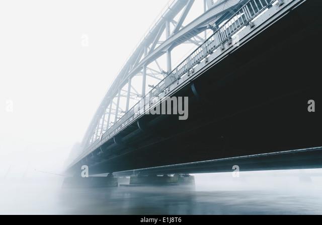 Germany, Hamburg, Freihafenelbbruecke, morning mist - Stock Image