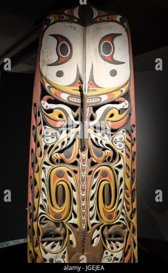 Malu Board, 2011, by Kaua Gita , Museum of Anthropology, Vancouver, Canada - Stock Image