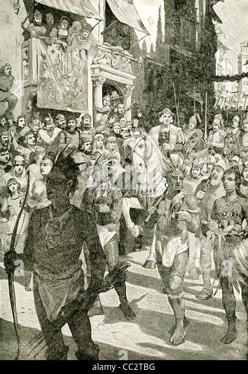 Christopher Columbus returned from his first trip to the New World to Palos, Spain, on March 15, 1493. All came - Stock-Bilder