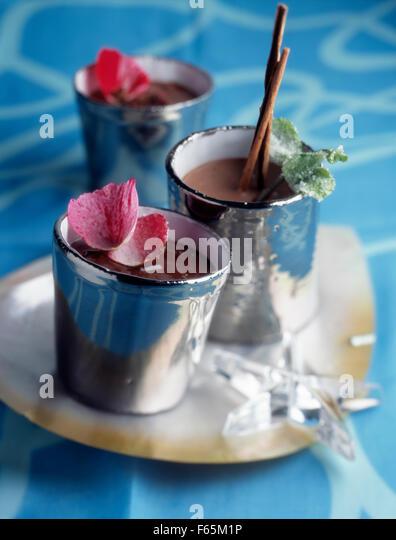 fancy pots of chocolate cream - Stock Image
