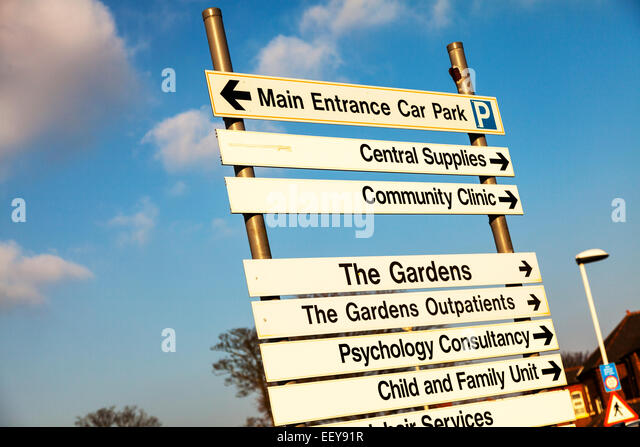 Grimsby Town Hospital directions sign psychology  outpatients training Lincolnshire Humberside UK England - Stock Image