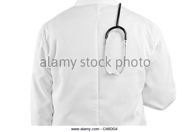 stethoscope over doctors back - Stock Image