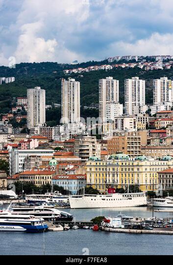 Cityscape of Rijeka, Croatia - Stock Image