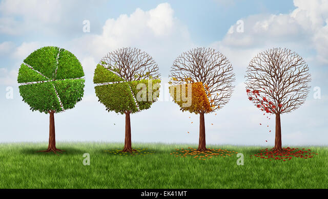 Market share decline concept as a group of trees shaped as a pie chart gradualy losing leaves as a financial crisis - Stock Image