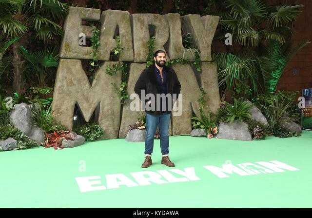 London, UK. 14th January, 2018. Kayvan Novak, Early Man - World premiere, BFI IMAX, London UK, 14 January 2018, - Stock Image