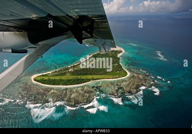 View from aircraft window Leaving Bird Island Seychelles - Stock Image
