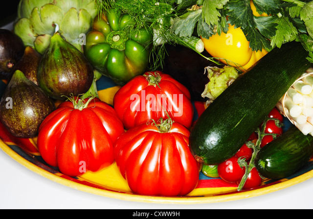 Plate of assorted vegetables - Stock Image