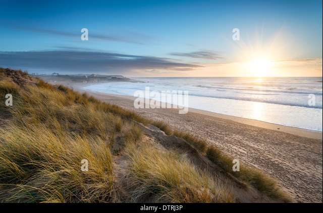 Constantine Bay on the Atlantic coast of Cornwall - Stock Image