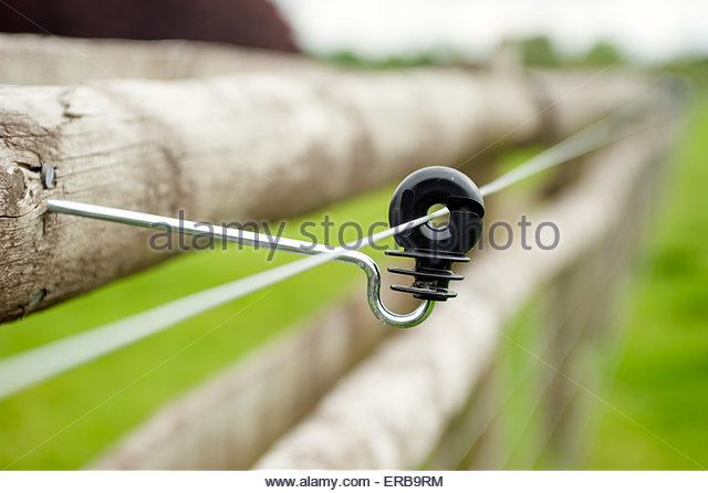 Woodstock Oxfordshire UK Electric fencing around a field. - Stock Image