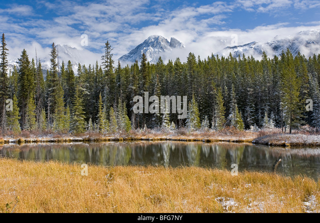 Fall afternoon at Spillway Lake looking to Opan Range in Canadian Rocky Mountains in Peter Lougheed Provincial Park - Stock Image