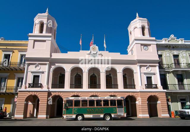 Town hall of San Juan, Puerto Rico, Caribbean - Stock Image