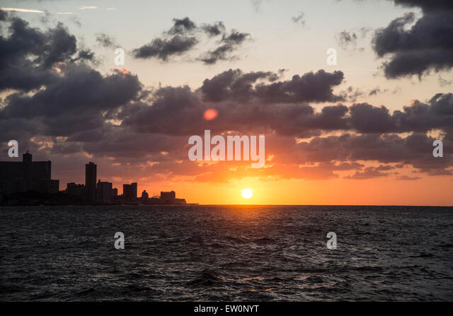 Sunset on the Malecon in Havana - Stock Image