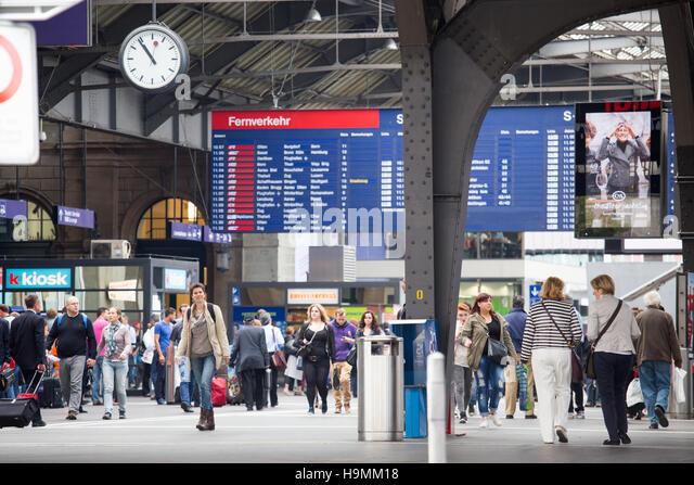 Zurich Hauptbahnhof or Main Railway station, Zurich Switzerland - Stock Image