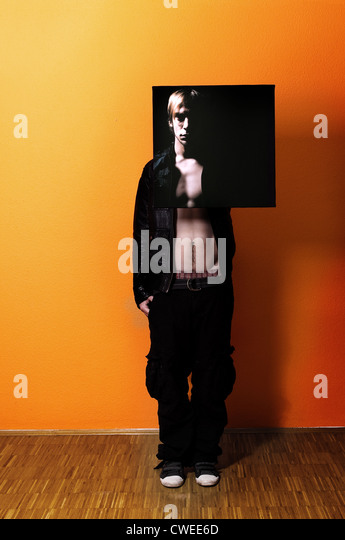 young man,man,multiple personality,image,split personality - Stock Image