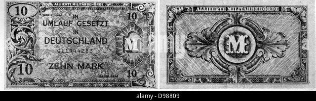 Obverse and reverse of an Allied 10 -mark note. - Stock Image