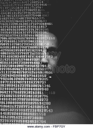Man Reflecting In Computer Monitor - Stock Image