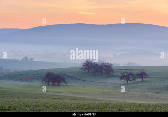 Countryside on Misty Morning at Dawn, Monchberg, Spessart, Bavaria, Germany - Stock Image