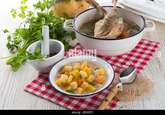 Rutabaga soup with goose meat - Stock Image