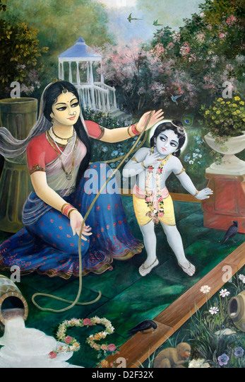 Krishna as Makhan Chor (literally Butter Thief) - Stock Image