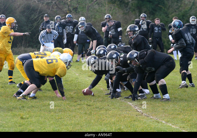 Irish American Football League Carrickfergus Knights v Dublin Rebels Carrickfergus 14th March 2004 - Stock Image