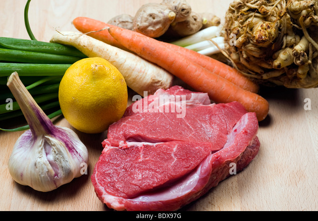 Beef and vegetables, ingredients for a clear beef broth - Stock Image