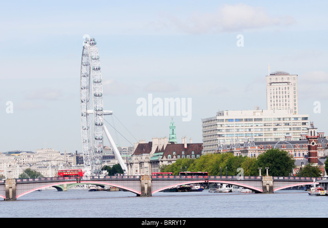 Lambeth Bridge with The London Eye and St Thomas' Hospital, view from Vauxhall Bridge, London, England, UK - Stock Image
