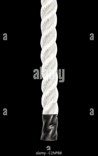 Close-up of a strong nylon rope isolated on white - Stock Image