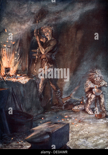 'The forging of Nothung', 1924.  Artist: Arthur Rackham - Stock Image