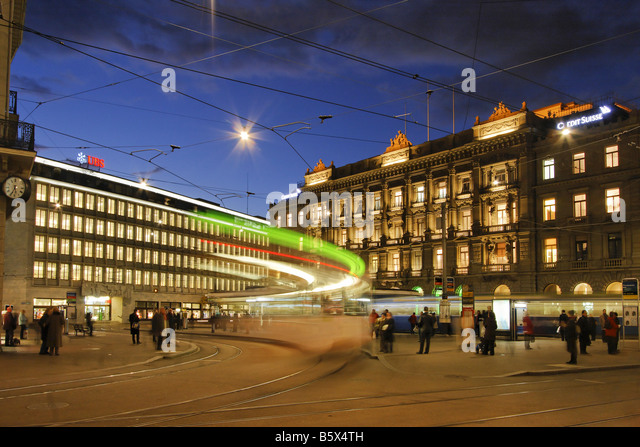 Bank UBS and Credit Suisse Bank at Paradeplatz Tram Zurich Switzerland - Stock Image
