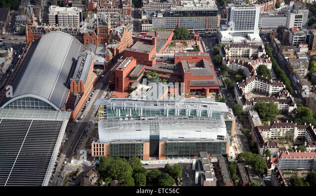 aerial view of the Francis Crick building behind the British Library in London NW1, UK - Stock Image