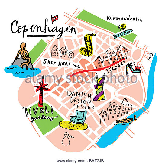 Copenhagen Map - Stock Image