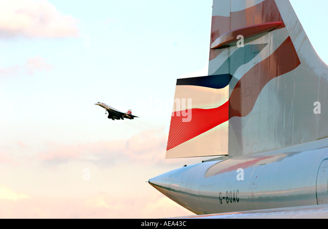 final landing of concorde - Stock Image