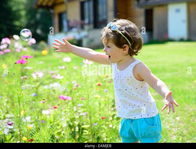 Children Summer Soap Bubbles Stock Photos & Children ...